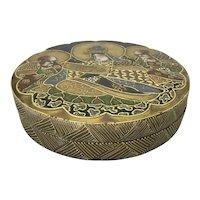 Antique Japanese Satsuma Pottery Box Kinkozan Sobeiz Signed Meiji Period Gold Gilding