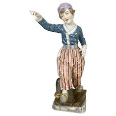 Antique Lg Dressel Kister & Co Porcelain Dresden German Lamp Dutch Boy Figurine