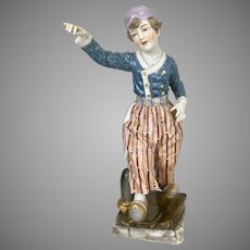 Antique Lg Dressel Kister & Co Porcelain Dresden German Lamp Dutch Boy Figurine