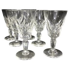 5 Baccarat France Cut Crystal Glass Cordials Stems Carcassonne French