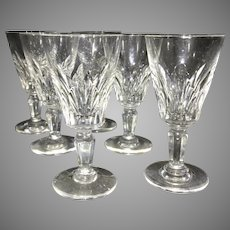 6 Baccarat France Cut Crystal Glass Cordials Stems Carcassonne French