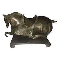 Vintage Chinese Bronze Tang Style Recumbent Horse Sculpture W Stand