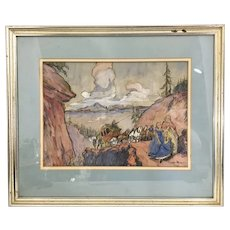 Original James Moore Preston Illustration Painting Drawing Art Western Settlers Wagon Train 1930's