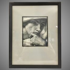 Charles Allen Winter Etching From Original Drawing Handsome Male Framed Art Listed (1869 - 1942)