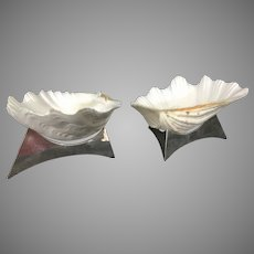 Pair Vintage Allan Adler Sea Clam Shells On Silver Plate Triangular Stand Modernist Signed