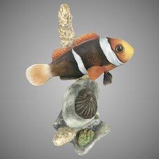 Vintage Boehm Of Malvern Porcelain Clown Fish Figurine Signed By Helen Boehm