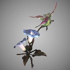 Boehm Porcelain Hummingbird Feeding On Blue Flowers Bronzed Metal Branches