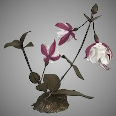 Boehm Porcelain Fuchsia Flowers W Bronzed Metal Branches Stand