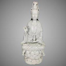 Antique 19th Century Dehua Blanc De Chine Chinese Porcelain Guanyin Kwan Yin Sculpture