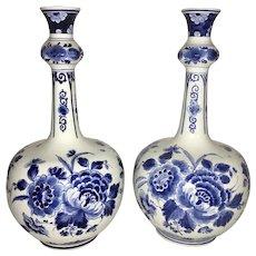 Pr Vintage Delft Porceleyne Fles Porcelain Blue & White Floral Knobble Vases Gourd Bell Shaped