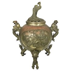 Antique Asian Japanese Bronze Tripod Censer W Foo Dog Feet Phoenix Handles Finial Signed