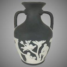 """Wedgwood Jasperware Portland Vase 6.25"""" Tall Rope Handles Black Basalt Vintage"""