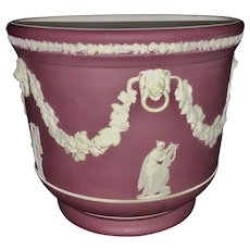 Antique Lg Wedgwood Crimson Red Jasperware Cache Pot Planter Vase Neoclassical