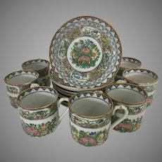 8 Chinese Porcelain Rose Medallion Canton Demitasse Cups W 8 Saucers