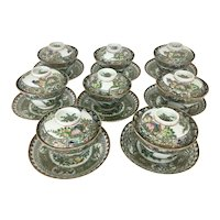 8 Chinese Porcelain Rose Medallion / Canton Butterfly Enamel Bowls W Lids Under Plates  24 pieces