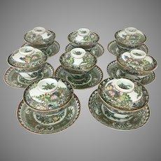 8 Chinese Porcelain Rose Medallion / Canton Enamel Rice Bowls W Lids Under Plates  24 pieces