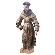 "36"" Tall 18 /19th C Spanish Colonial Santos Wood Carved St. Francis Polychrome Church Cathedral"