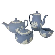 Vintage Wedgwood Jasperware Blue Miniature Tea Set Creamer Sugar England