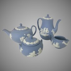 Vintage Wedgwood Jasperware Blue Miniature Tea Set Creamer Sugar England