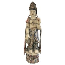 "36"" Old Carved Polychrome Wood Chinese Kwan Yin Guanyin Goddess Asian"