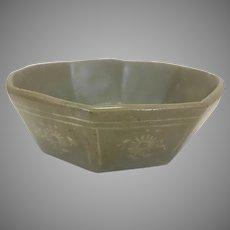 Antique Asian Korean Celadon Porcelain Ocatagonal Bowl Kiln Sand