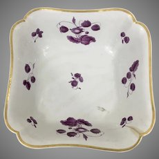 Lg 9th C Victorian Flight Barr Barr Chinoiserie Porcelain Puce Serving Dish Bowl England