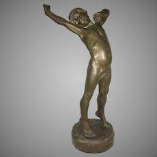 """23"""" Eugène Desire Piron Bronze Enfant s'étirant Boy Stretching Susse Freres Foundry Paris France"""