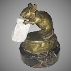 S Bailly Signed Bronze Mouse Eating Cheese/Sugar Cube Marble Base