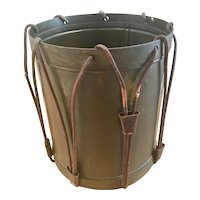 Vintage Drum Patinated Brass & Leather Trash Can Waste Basket