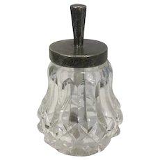 Victorian Cut Crystal Sterling Silver Glue Jar/ Pot London John Grinsell & Sons
