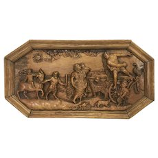 18th Century Flemish French Fruitwood Carved Allegorical Plaque Apollo's Wedding