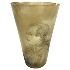 18th 19th C Etched Horn Cup W Military Political Profile Scrimshaw Beaker