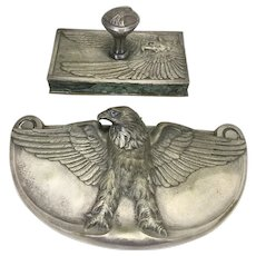 2 Piece Silvered Bronze Maurice Frecourt Desk Set Inkwell Blotter/Paperweight Eagle Art Deco