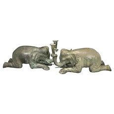 Pair Large Vintage Bronze Chinese Recumbent Elephant Candle Holders Candleholders