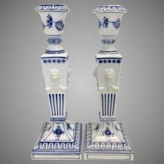 Pr Royal Copenhagen Porcelain Blue Fluted Candle Holders Bisque Lion Heads