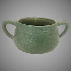 Arts & Crafts Hampshire Matte Green Curdled Glaze Pot W Handles