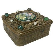 Small Austrian Bronze Ormolu Trinket Pill Box Jeweled Enameled