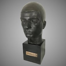 Maurice Sterne Art Deco Bust Sculpture The Bomb Thrower Composite On Base