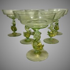 1930's Salviati Venetian Murano Green & Gold Flecked Glass Champagne Wine Glasses W Dolphins Flutes