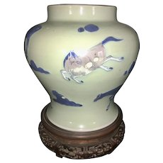 Kangxi Style Chinese Celadon Vase W Wood Plinth Horses Ginger Jar Repaired As Is