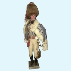 Antique French Officer Hussar Napoleon Doll Military Uniform Composite Armed Fur Cloth