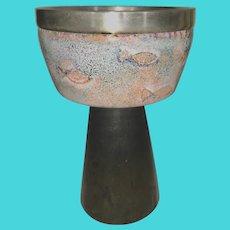 1960's Enamel On Copper & Silver Church Chalice Goblet Fish European