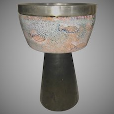 1960's Enamel On Copper & Silver Church Chalice Goblet Fish European