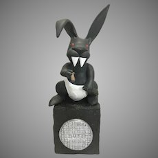 Resin Pop Art Sculpture Evil Playboy Bunny W Cigar Whiskey Vampire Teeth and Red Eyes Signed