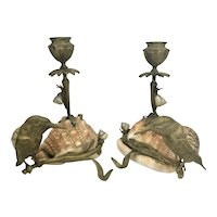Pr French Figural Candleholders Bronze Birds On Branch W Snails Sea Shells 19th Century France