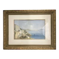 1897 M. Maria Gianni Watercolor Gouache Painting Italy Naples Vesuvius Gilt Wood Frame