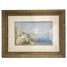 1897 M. Maria Gianni Watercolor Gouache Painting Italy Naples Vesuvius Gilt Wood Frame