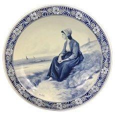 Large Dutch Delft Porceleyne Fles Royal Delft Wall Plate Plaque Charger D.A.C. Artz Faience Blue & White