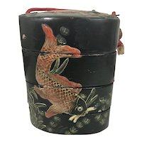 Antique Japanese Lacquer Inro Box W Raised Koi Fish Wood Ojimi