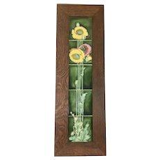 Porteous Arts & Crafts Style Tiles W Dard Hunter Oak Frame New Zealand